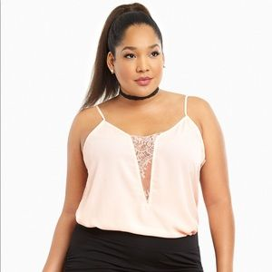 NWT Torrid Pink Lace Inset Cami Tank Top